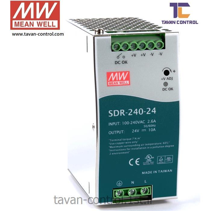 منبع تغذیه سوئیچینگ مین ول 24 ولت 10 آمپر مدل SDR-240-24 MEAN WELL