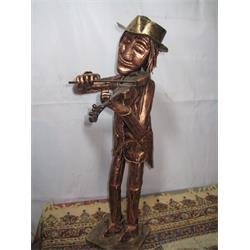 عکس صنایع دستی فلزیمجسمه فلزی فانتزی مدل ویالون زن