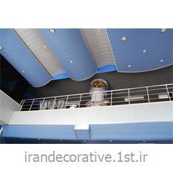 طراحی و اجرای سقف پوش و دکوراسیون داخلی فضای اداری با دیوارپوش پانل پی وی سی آذران پلاستیک طرحدار سفید و آبی