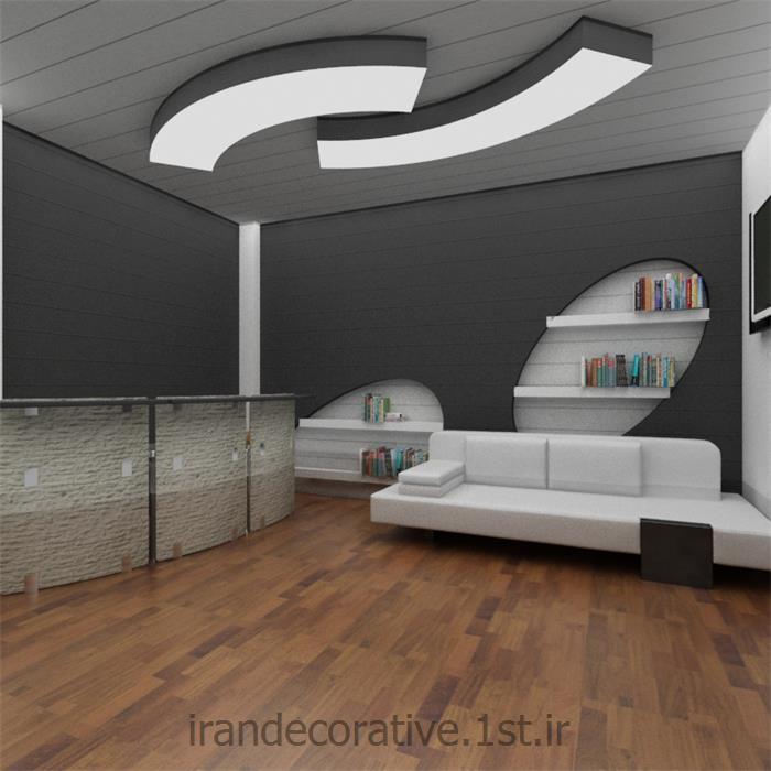 طراحی و دکوراسیون داخلی اداری (ایران دکوراتیو) با طراحی سقفپوش،دیوارپوش پانل پی وی سی آذران پلاستیک رنگ نقره ای،طوسی