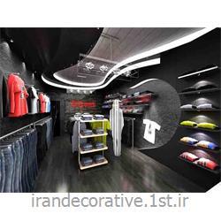 طراحی و دکوراسیون مغازه با طراحی سقفپوش آذران پلاستیک(ایران دکوراتیو) رنگ پانل نقره ای،طوسی