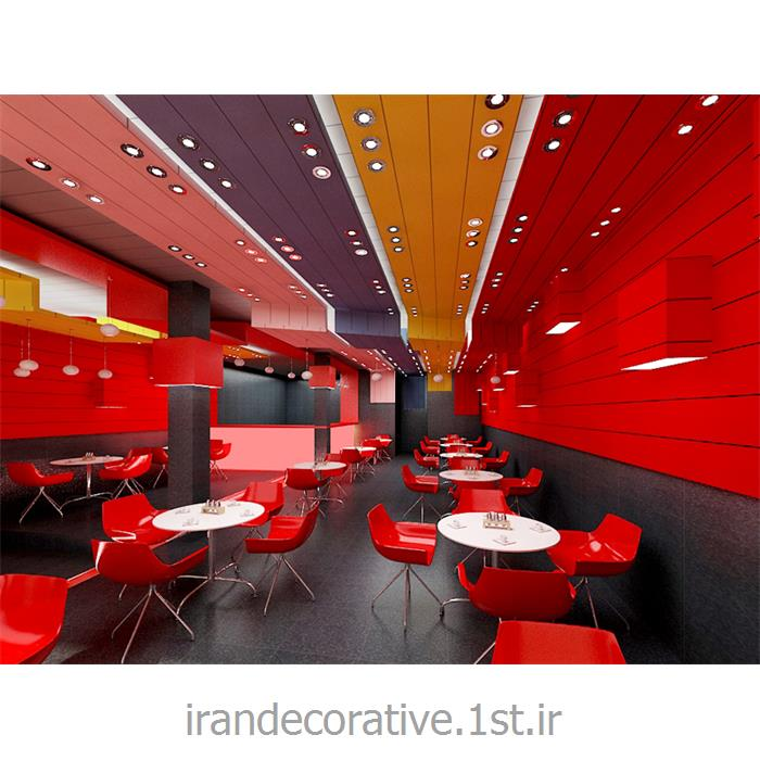 دکوراسیون ومبلمان رستوران با طراحی دیوارپوش،سقفپوش آذران پلاستیک(ایران دکوراتیو) رنگ پانل قهوه ای
