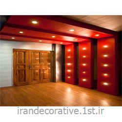 سقف پوش و دیوار پوش طرحدار(ایران دکوراتیو) با دیوارپوش pvc آذران پلاستیک،رنگ پانل قرمز و نقره ای