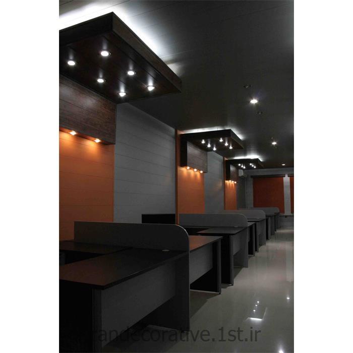 طراحی فضای اداری (ایران دکوراتیو) با divar poosh pvc آذران پلاستیک رنگ پانل کرم و قهوه ای