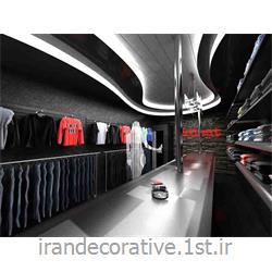 طراحی و دکوراسیون داخلی و مبلمان مغازه(ایران دکوراتیو) با طراحی دیوارپوش،سقفپوش پانل پی وی سی آذران پلاستیک رنگ نقره ای،طوسی
