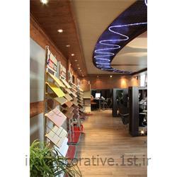 طراحی و اجرای سقف و دیوار طرحدار ایران دکوراسیون با دیوارپوش پانل پی وی سی آذران پلاستیک رنگ قهوه ای