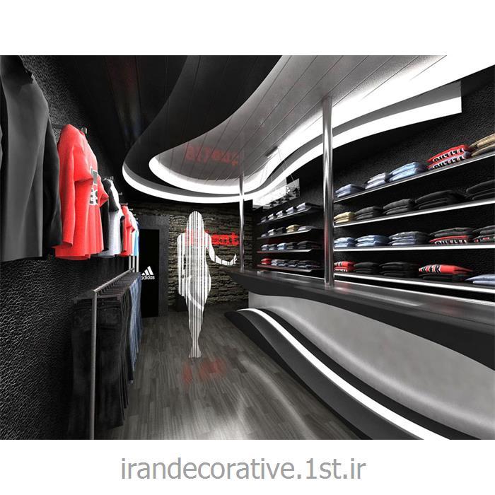 طراحی و دکوراسیون داخلی مغازه با طراحی دیوارپوش، سقفپوش آذران پلاستیک(ایران دکوراتیو) رنگ پانل طوسی،نقره ای