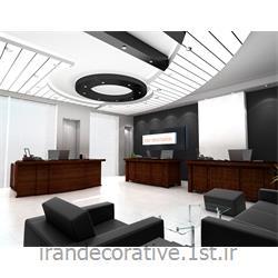 دکوراسیون و طراحی داخلی اداری با طراحی دیوارپوش،سقفپوش پانل پی وی سی آذران پلاستیک باپانل سفیدومشکی
