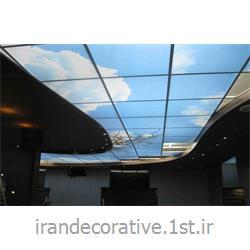 عکس کاغذ دیواری و دیوار پوشاجرای سقف پوش طرح آسمان رستوران ، با دیوارپوش pvc آذران پلاستیک