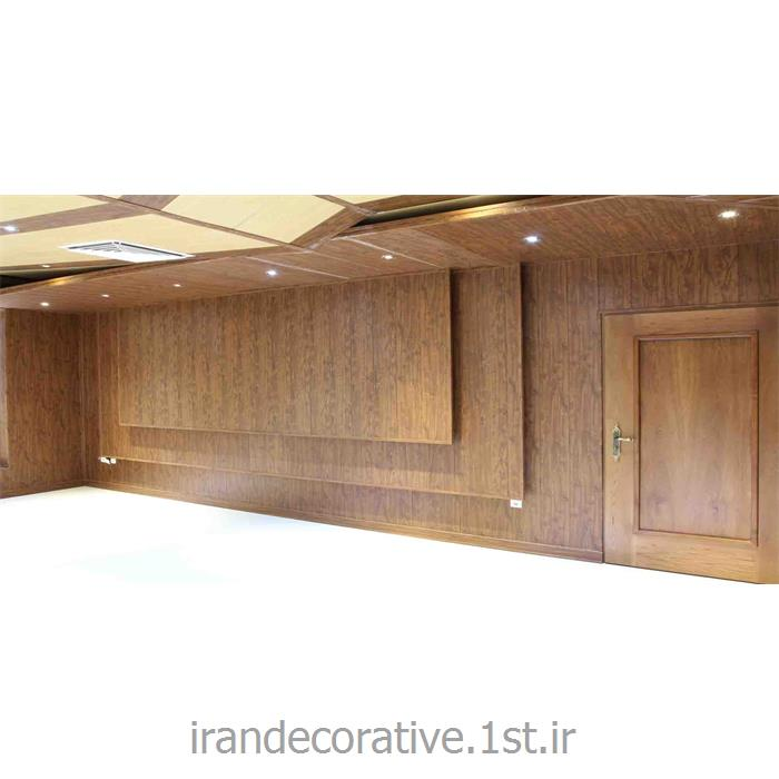 طراحی دیوارپوش طرحدار اداری (ایران دکوراتیو) با divar poosh pvc آذران پلاستیک رنگ پانل قهوه ای