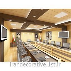 طراحی،دکوراسیون داخلی اداری (ایران دکوراتیو) با طراحی دیوارپوش،سقفپوش پانل پی وی سی آذران پلاستیک با پانل کرم و قهوه ای