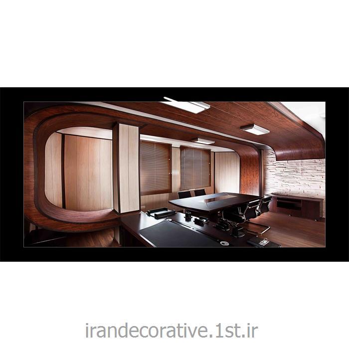 طراحی اتاق مدیر فضای اداری (ایران دکوراتیو) با دیوارپوش pvc آذران پلاستیک رنگ پانل کرم و قهوه ای