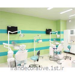 طراحی دکوراسیون و اجرای سقف پوش طرحدار و دیوارکوب فضای پزشکی (ایران دکوراتیو) با پانل pvc آذران پلاستیک رنگ سبز