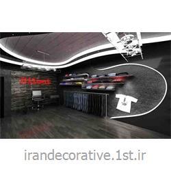 طراحی و دکوراسیون مغازه و مبلمان با طراحی دیوارپوش آذران پلاستیک(ایران دکوراتیو) رنگ پانل نقره ای،طوسی