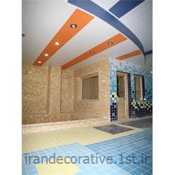 طراحی سقف پوش و دیوار پوش طرحدار فضای استخر (ایران دکوراتیو)با دیوارپوش pvc، آذران پلاستیک رنگ پانل سفید و آبی