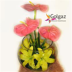 عکس شاخه گل تازهتنگ شیشه ای،آنتوریوم،لیلیوم مدل 2799
