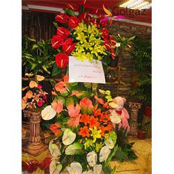 عکس شاخه گل تازهتاج گل، آنتوریوم، لیلیوم سفید، قرمز، زرد، نارنجی، مدل 100