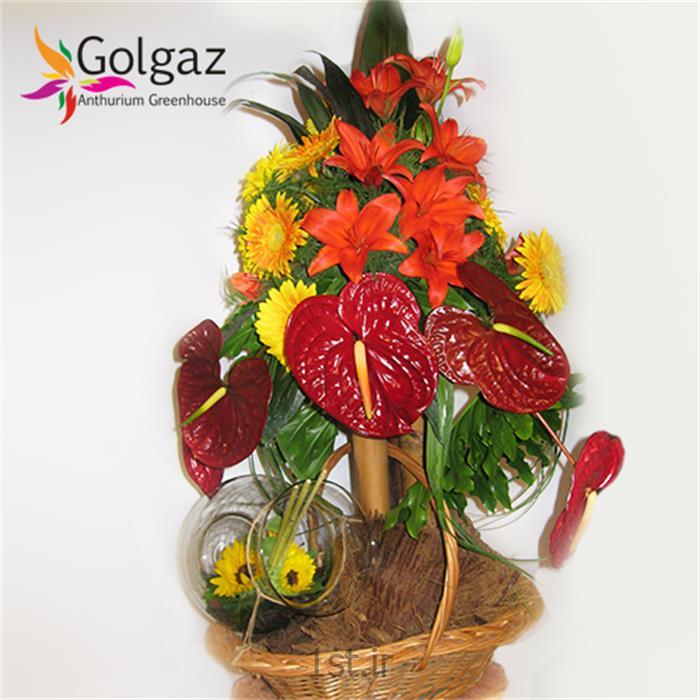 سبد گل آنتوریوم ، لیلیوم ، ژربرا ، آفتاب گردان ، مدل 2790