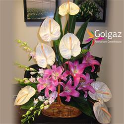عکس شاخه گل تازهسبد گل آنتوریوم،لیلیوم،ارکید،مدل 2828