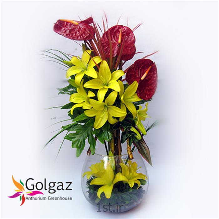 عکس شاخه گل تازهتنگ شیشه ای،آنتوریوم،لیلیوم