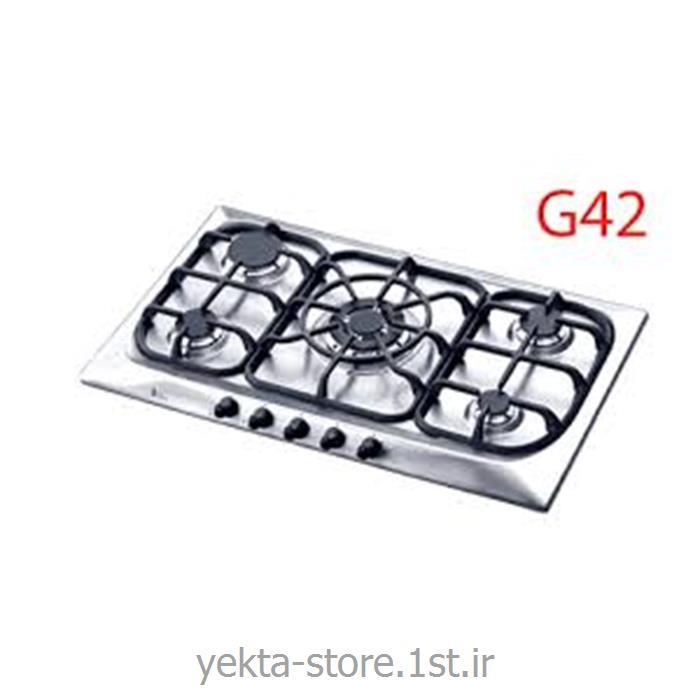 عکس اجاق رومیزیاجاق گاز 5 شعله شیشه ای استیل اخوان کد G42