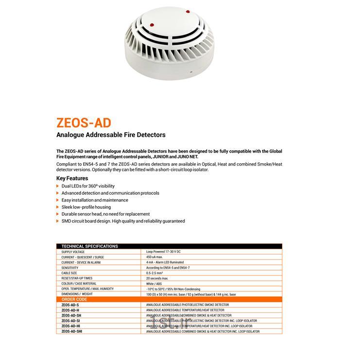 دتکتور دودی و حرارتی آدرس پذیر گلوبال فایر GFE