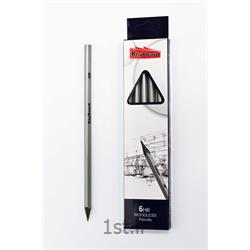 مداد مشکی سه ضلعی کیبورد با بدنه نقره ای کد 120082