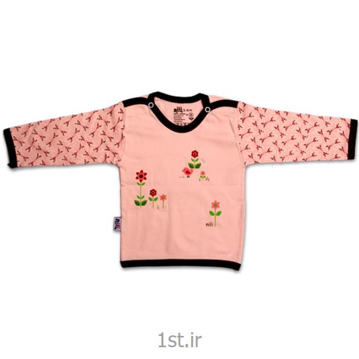 عکس تی شرت نوزادلباس نوزاد نیلی بلوز آستین بلند طرح گل ریز