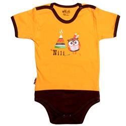 لباس نوزاد نیلی زیردکمه آستین کوتاه طرح جغد