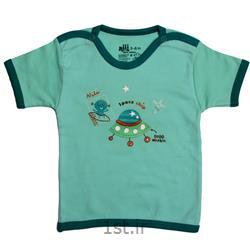 لباس نوزاد نیلی بلوز آستین کوتاه طرح سفینه