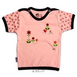 لباس نوزاد نیلی بلوز آستین کوتاه طرح گل ریز