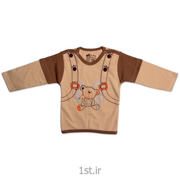 عکس تی شرت نوزادلباس نوزاد نیلی بلوز آستین بلند طرح کوله پشتی