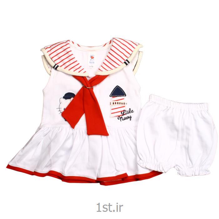 عکس پیراهن نوزادپیراهن دخترانه نیلی طرح ملوان