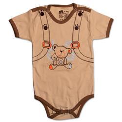 لباس نوزاد نیلی زیردکمه آستین کوتاه طرح کوله پشتی