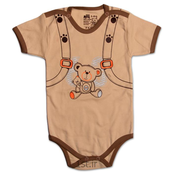 عکس پیراهن نوزادلباس نوزاد نیلی زیردکمه آستین کوتاه طرح کوله پشتی