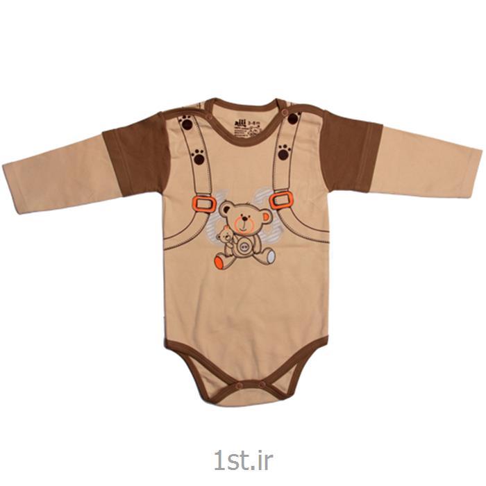 عکس پیراهن نوزادلباس نوزاد نیلی زیردکمه آستین بلند طرح کوله پشتی