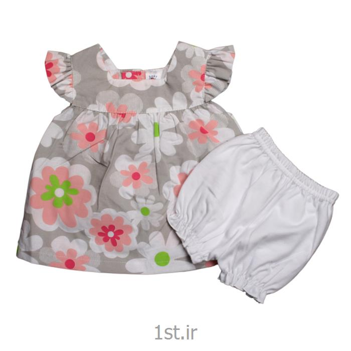 عکس پیراهن نوزادسارافون طوسی گلدار نیلی