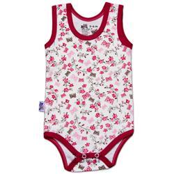 لباس نوزاد نیلی زیردکمه رکابی طرح گل و پروانه