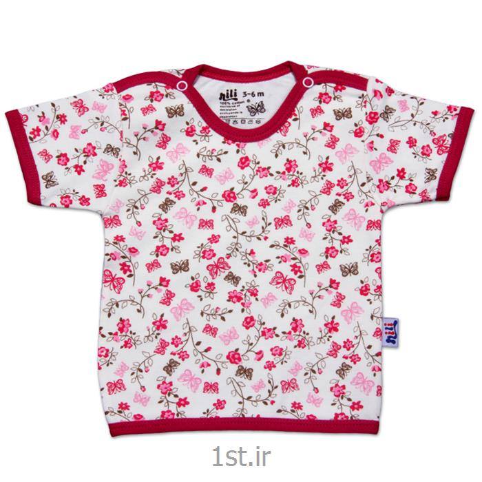 عکس تی شرت نوزادلباس نوزاد نیلی بلوز آستین کوتاه طرح گل و پروانه