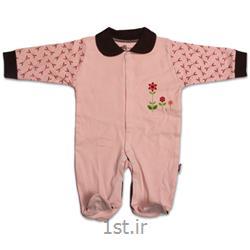 لباس نوزاد نیلی سرهمی طرح گل ریز