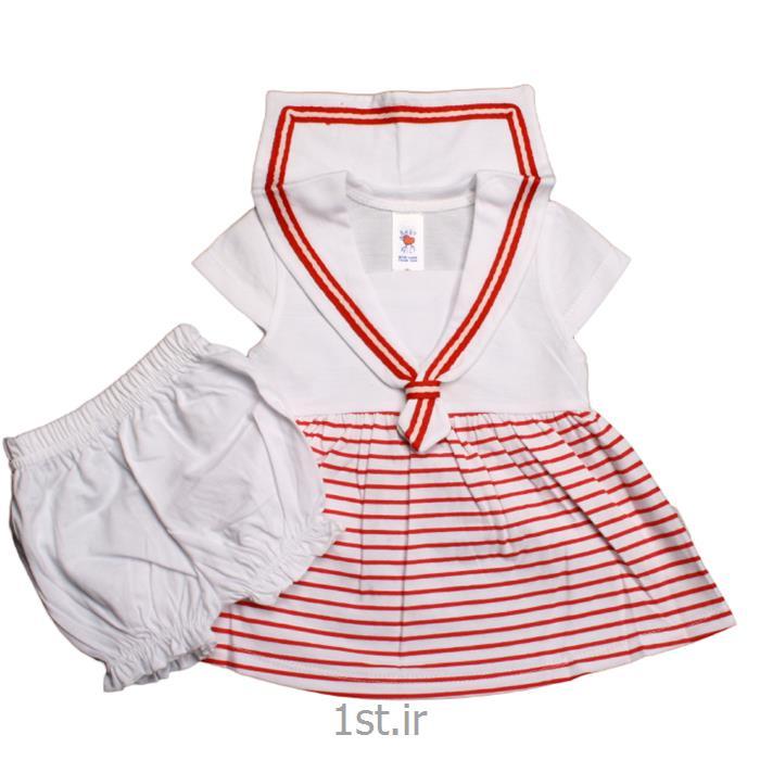 عکس پیراهن نوزادسارافون طرح ملوانی نیلی