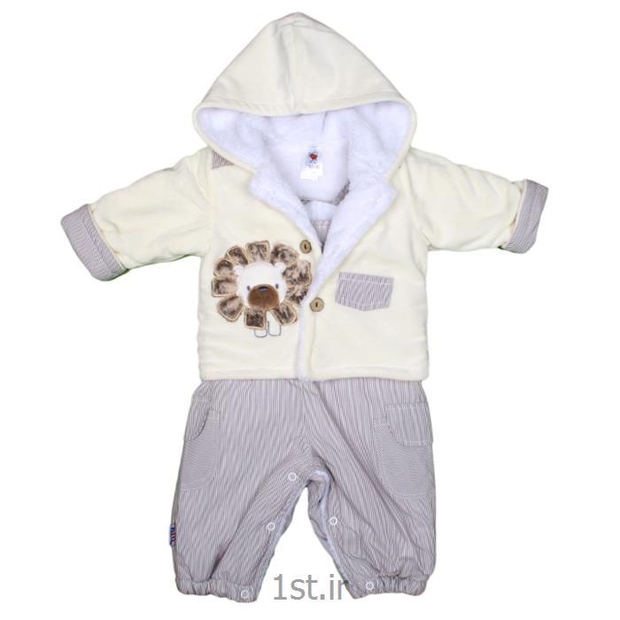 عکس ست لباس نوزادژاکت و سرهم بندی شیر