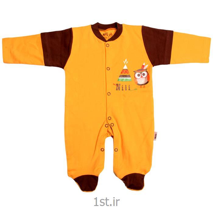 لباس نوزاد نیلی سرهمی طرح جغد