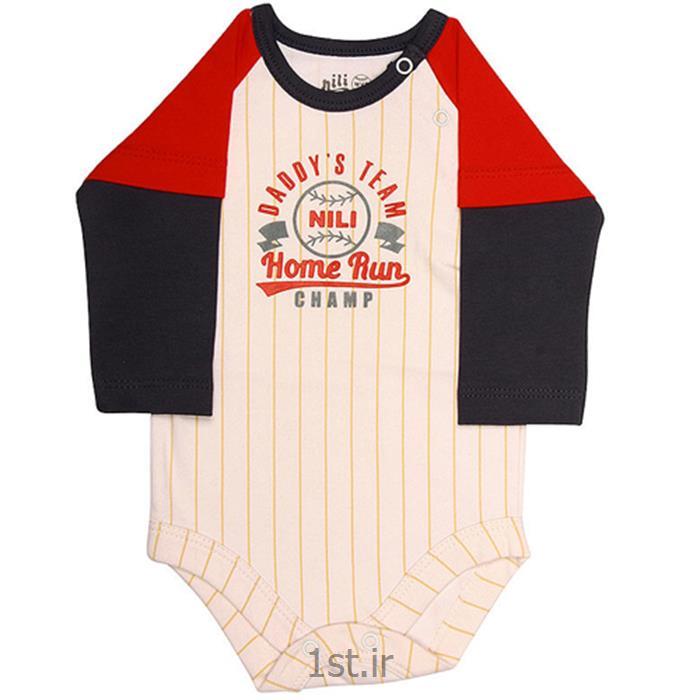 عکس سرهمی نوزادلباس نوزاد نیلی زیردکمه آستین بلند طرح بیسبال