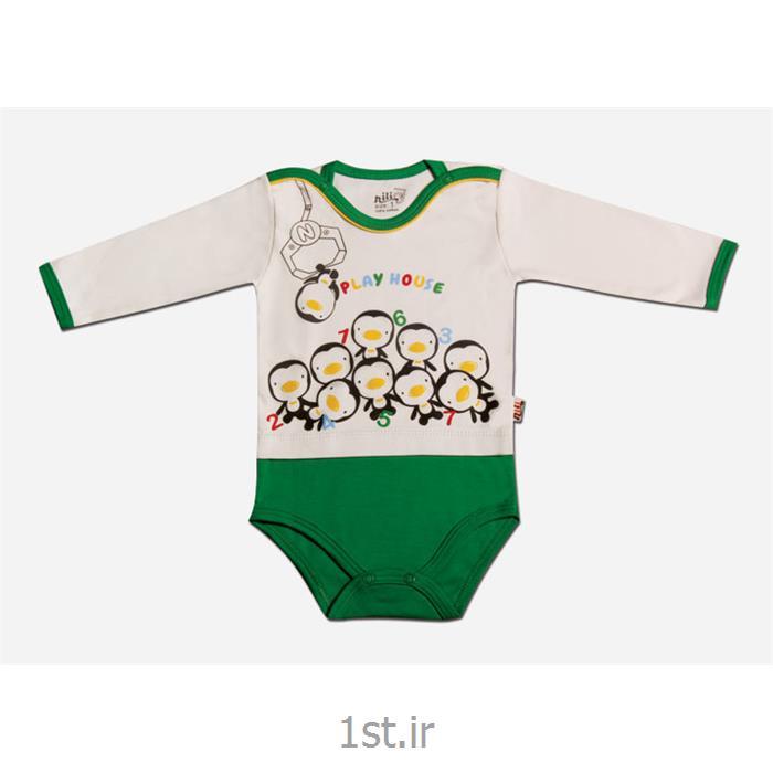 عکس لباس زیر نوزادبادی آستین بلند طرح پنگوئن