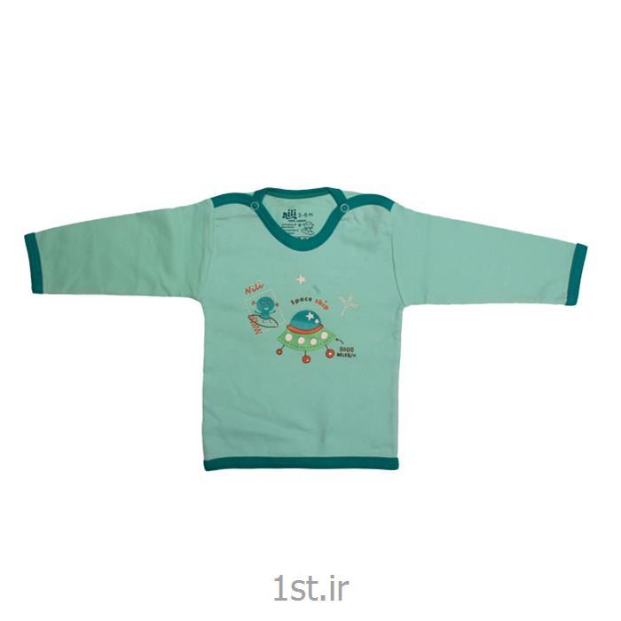 عکس تی شرت نوزادلباس نوزاد نیلی بلوز آستین بلند طرح سفینه