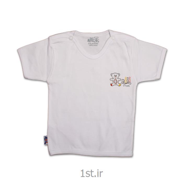 عکس تی شرت نوزادلباس نوزاد نیلی بلوز آستین کوتاه طرح خرس کوچولو