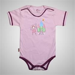 لباس نوزاد نیلی زیردکمه آستین کوتاه طرح پرنس