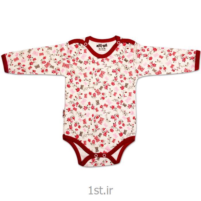 عکس پیراهن نوزادلباس نوزاد نیلی زیردکمه آستین بلند طرح گل و پروانه