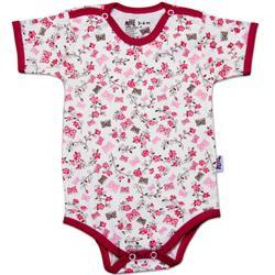 لباس نوزاد نیلی زیردکمه آستین کوتاه طرح گل و پروانه